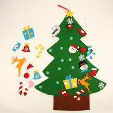 Hot sale Kids DIY Felt Christmas Tree With Ornaments Children Gifts For New Year Door Wall Hanging Xmas Decoration