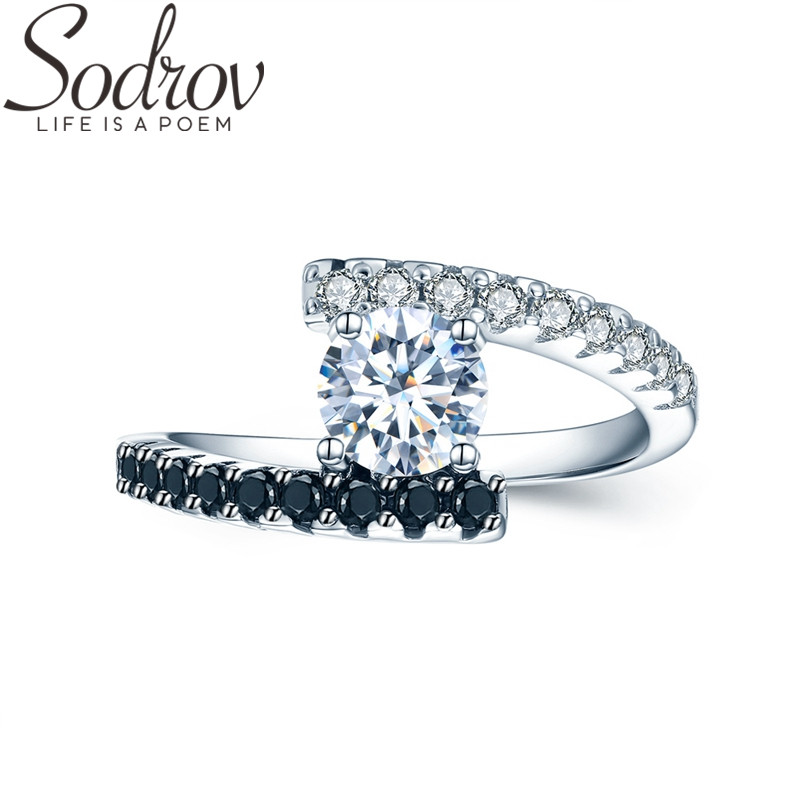 SODROV 2019 Real 925 Sterling Silver Fine Jewelry Trendy Engagement Bague Black Spinel Leaf Women's Wedding Ring C011
