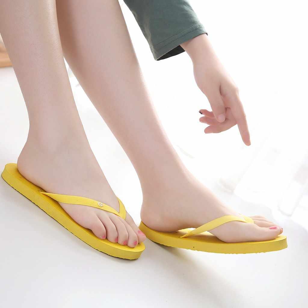 2020 yüksek kaliteli lastik terlik kadınlar için yaz plaj Flip flop hafif rahat ayakkabılar açık düz topuk kaymaz terlik