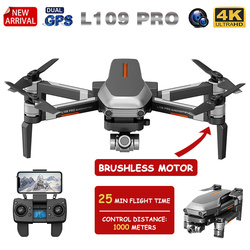 XKJ New GPS Drone L109 PRO Brushless Motor Drone With 4K HD Dual Camera Professional Foldable Quadcopter 1000M RC Distance Toy