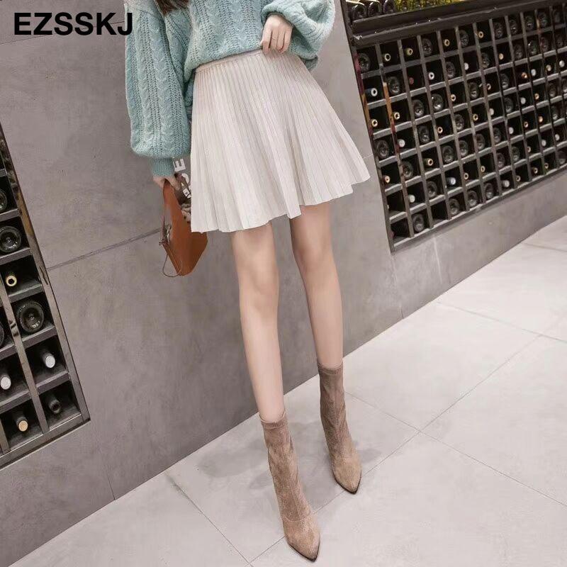 Image 5 - 2019 autumn Winter sweet short sweater sun skirt women A line skirt umbrella skirt female high waist  knit bottom mini skirt-in Skirts from Women's Clothing