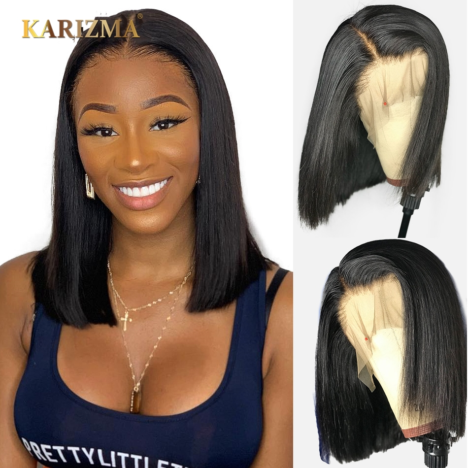 13x4 Lace Short Bob Wigs 150% Brazilian Remy Hair Wigs Can Be Dyed Lace Front Human Hair Wigs Pre-Plucked Bleached Knots Karizma