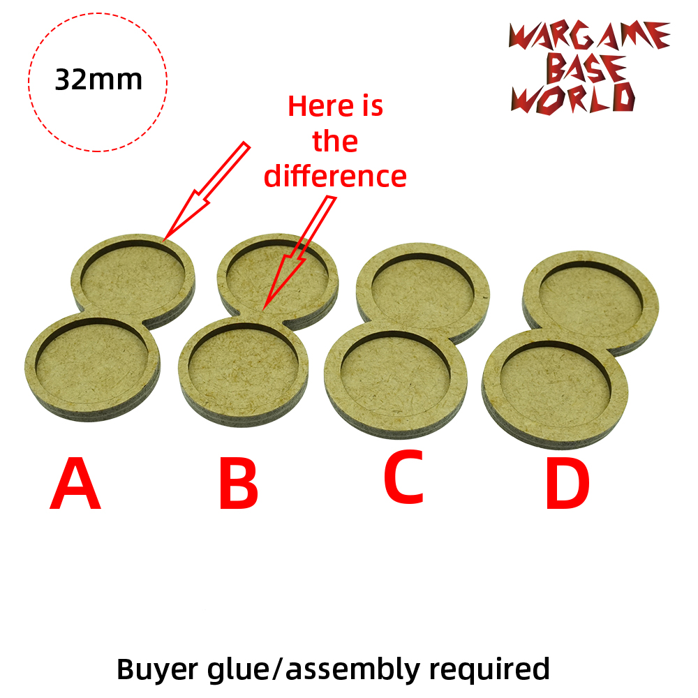 Wargame <font><b>Base</b></font> World - Movement Tray - 2 <font><b>round</b></font> <font><b>32mm</b></font> - 4 sets image