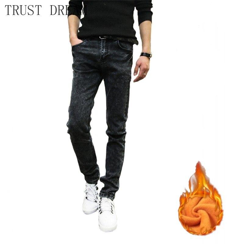2019 Fashion Man Gray Skinny Jeans Warm Fleece Men Stretch Snow Washion Pencil Pants Designer Denim Slim Streetwear Trousers