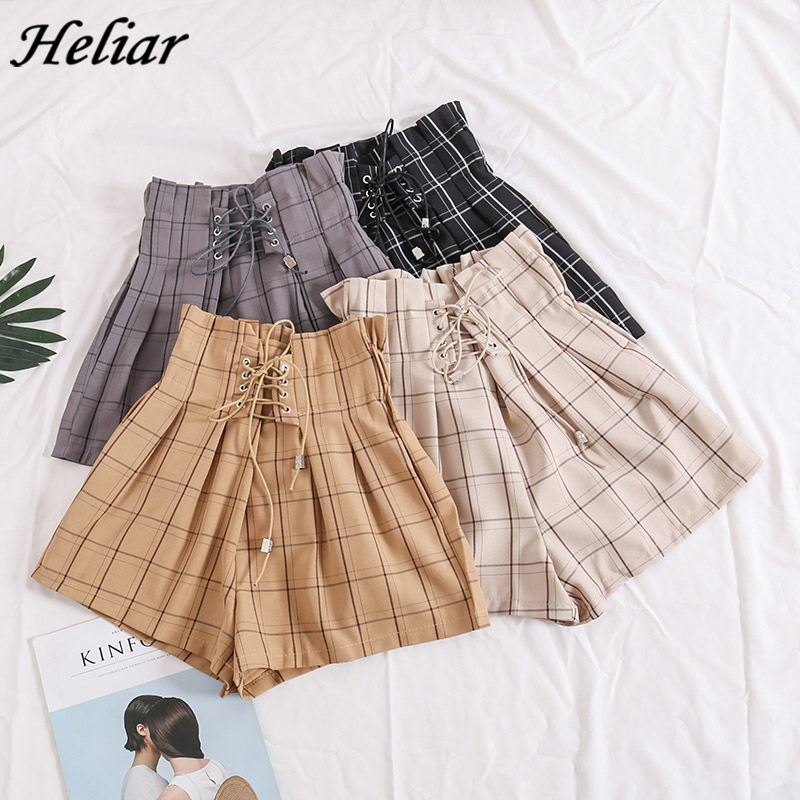 HELIAR Women Shorts 2020 Spring Summer Female Plaid Drawstring Hot Shorts With Ribbons Elastic High Waist Shorts For Women