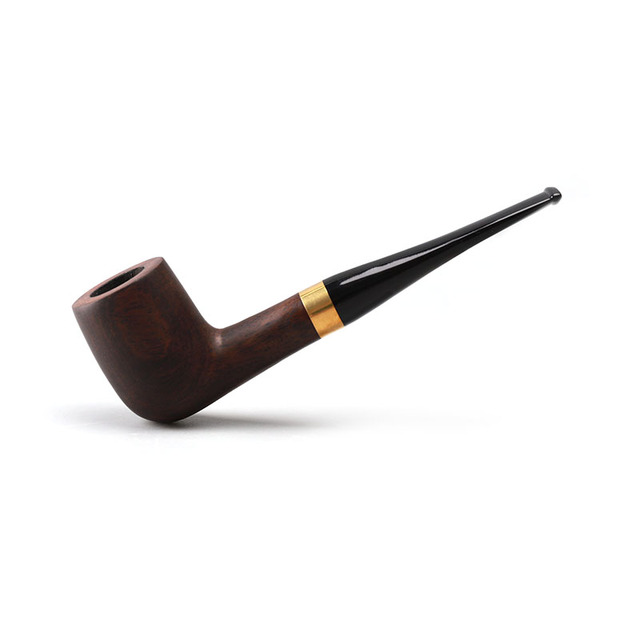 RU New Handmade Ebony Wood Black Smoking Pipes Tobacco Pipe 9mm Filter Wooden Pipe Gift for Grandfather Father ac0015