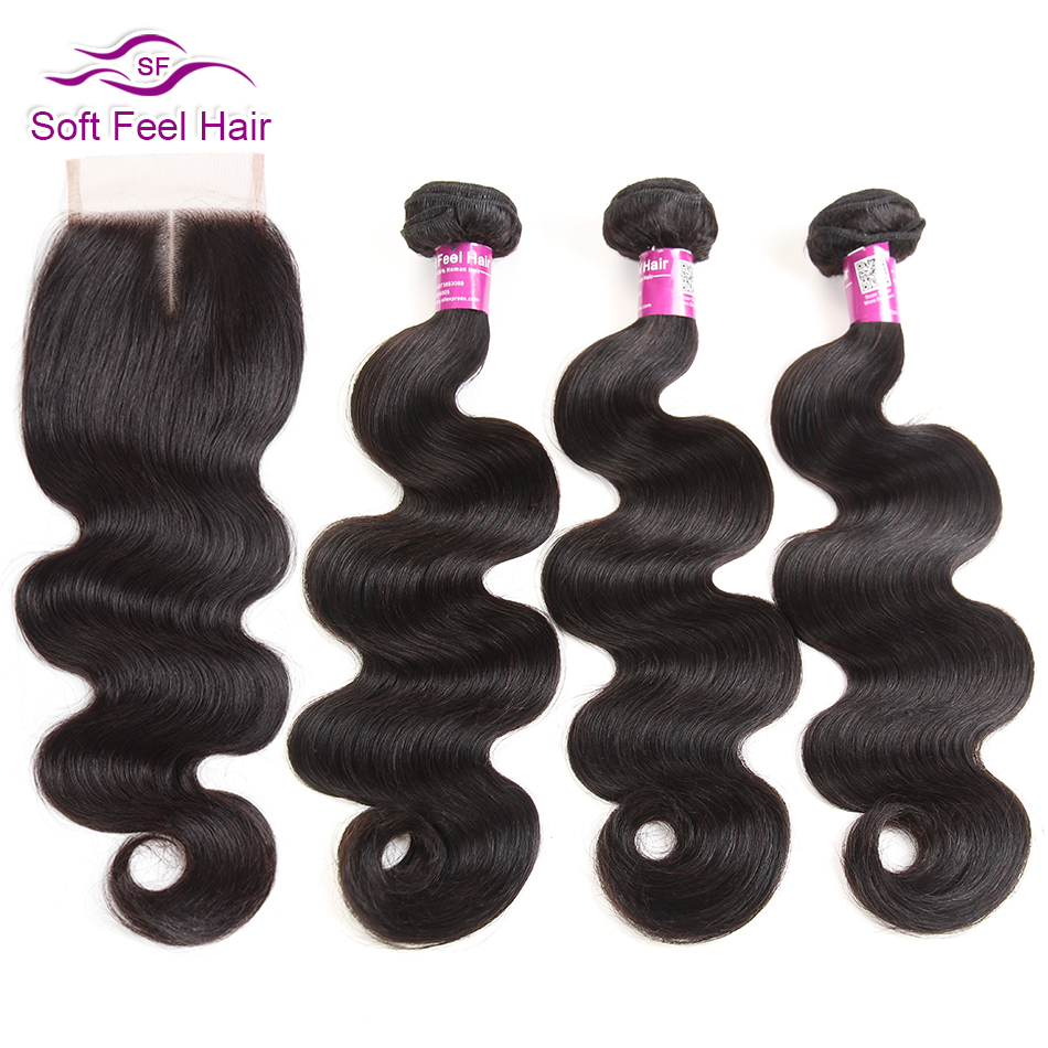 Soft Feel Hair Body Wave Bundles With Closure Malaysian Human Hair Bundles With Closure Remy Hair 3 Bundles With Lace Closure