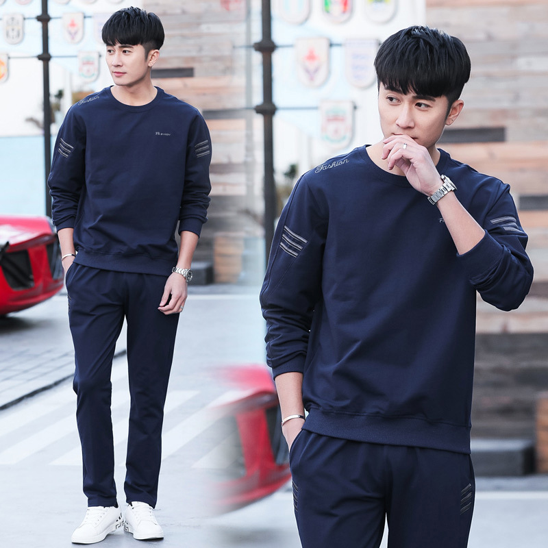 Spring And Autumn Men'S Wear Sports Set Long Sleeve Casual Fashion Korean-style Hoodie Trousers MEN'S Coat A Generation