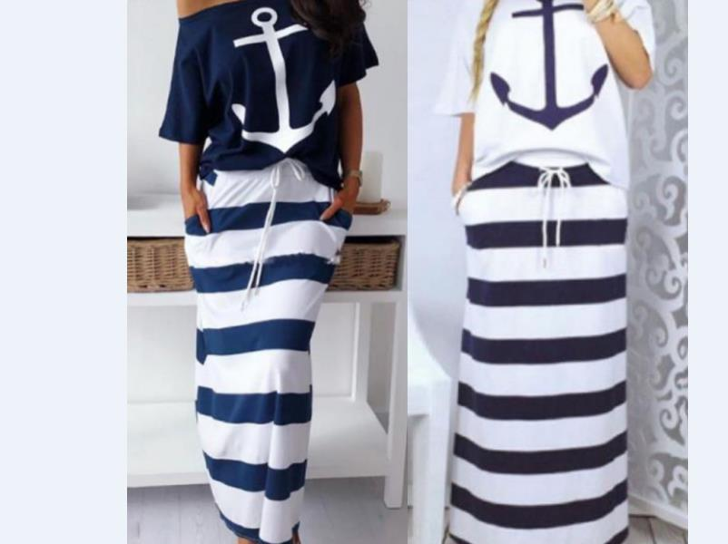 Hot Sale Casual 2 Piece Skirt Suit Women Slash Neck Half Sleeve Top And Striped Long Skirt Casual Outfit
