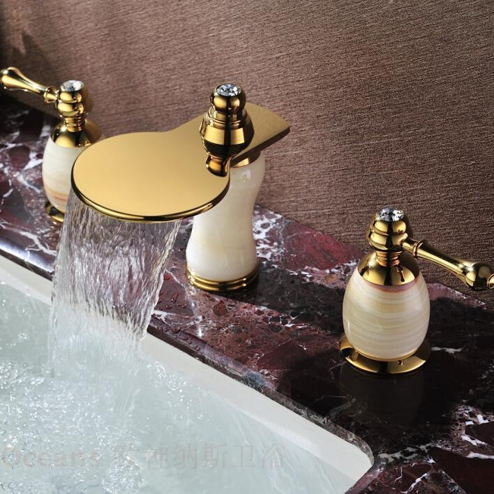 European antique marble double the three-hole waterfall natural jade gold-plated copper basin taps full eight inches