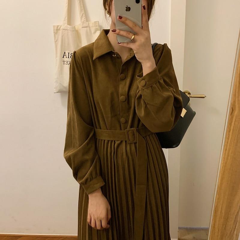 H04a7a713f4124e069db86b1e5f3a67e3d - Autumn Turn-Down Collar Long Sleeves Pleated Solid Midi Dress
