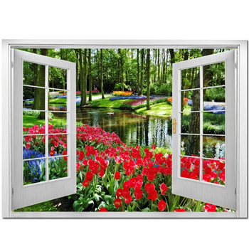 Diamante bordado ventana tulipán vista Natural costura 5D DIY diamante pintura completo cuadrado redondo diamante mosaico kit JS5258