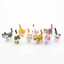 цена 9pcs Mini Lovely Anime Kawaii Cat Bells Figurine Cat Neko Kitty Pet Model Plump Kitten Walking Figure Toy Kid Gifts онлайн в 2017 году