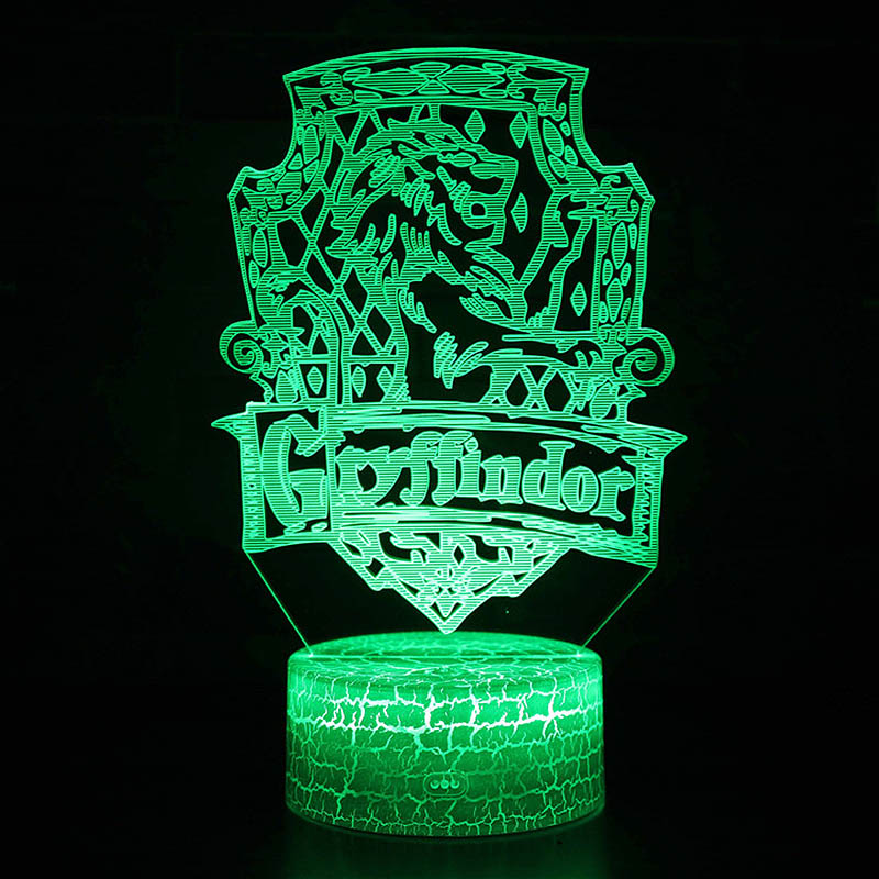 Wizarding School Movie Theme Decor Night Lights Gryffindor Hufflepuff Ravenclaw Slytherin Logo Model LED Lamp 3D Illusion Light