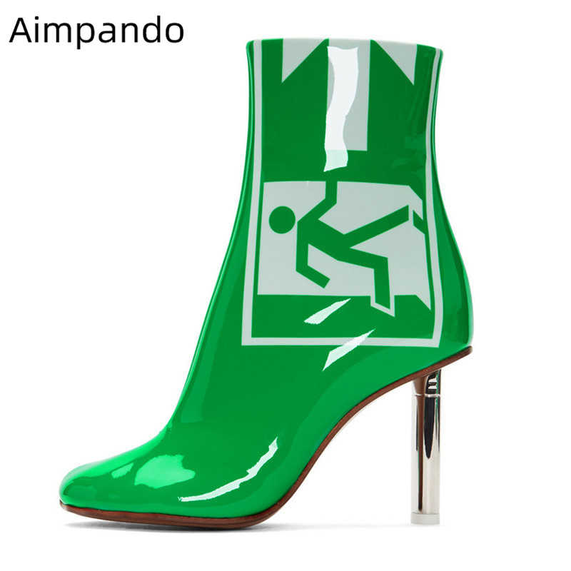 Green Patent Leather Ankle Boots Women Individual Exit Signal Print Side Zip Martin Boots Metal Lighter-heel Short Booties