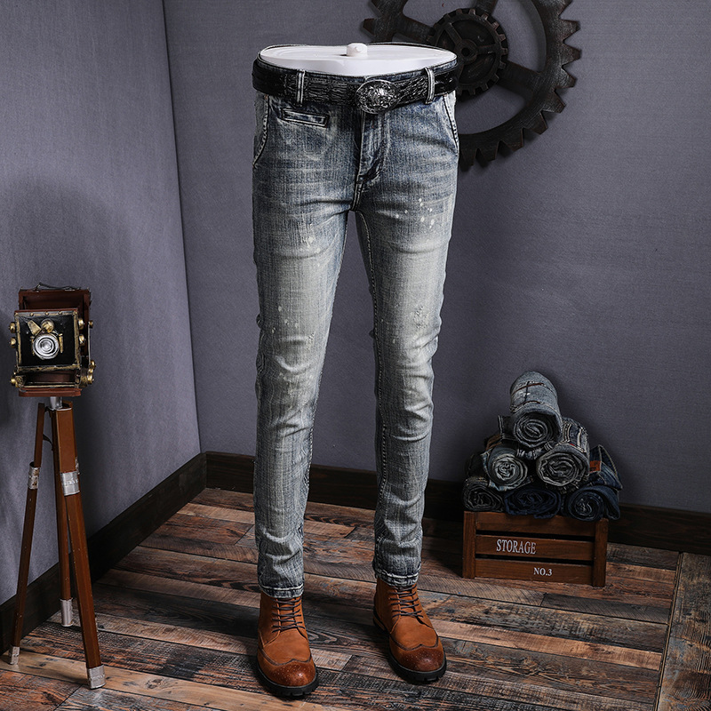 Four Seasons Paragraph Cotton Elastic Pencil Pants Vintage Jeans Men's High-End Quality Cowboy Light Gray Nostalgia Ink Paint De