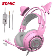 SOMIC 3.5mm/USB Gameing Pink Cat Ear Headset Noise Cancelling Headphones Girl Kids Cute Gaming with Microphone For PS4