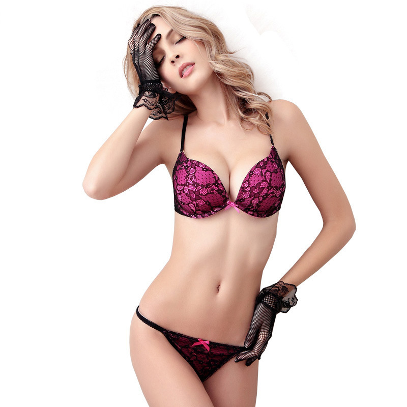 Deep V Lace Surface Push Up Sexy BH Höschensets Passende Schleife G-String Bequeme Unterwäsche Damen Dessous Set Intimates
