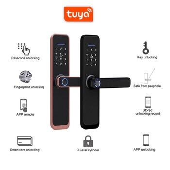 Tuya Smart Fingerprint Door Lock Safe Digital Electronic Lock WiFi APP Password RFID Unlock For Home Security wooden door lock