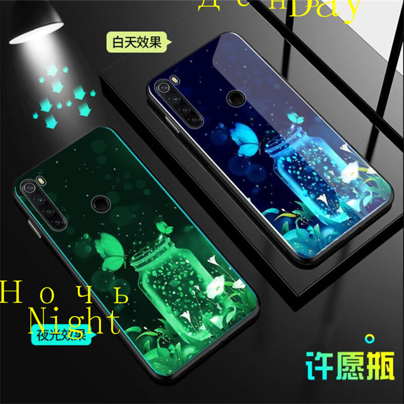 Luminous Tempered Glass Case For Xiaomi Redmi Note 8T Case Glow Back Cover For Xiaomi Redmi Note 8T Cover Silicone Phone Bag