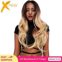 Ombre sarışın renk dantel ön peruk siyah kadınlar için X TRESS uzun doğal dalga sentetik dantel peruk doğal saç çizgisi ile orta kısmı