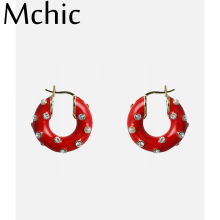 Mchic Chunky Statement Hoop Earrings Copper Stud for Women Brand Red charm Rhinestone Pearls Jewelry Bijoux 2019