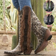 New Women Leather Boots Vintage Tassel Leopard Boots Riding Boots Tall Boots Autumn Winter Warm Pointed Toe Ladies Cowboy Boots(China)