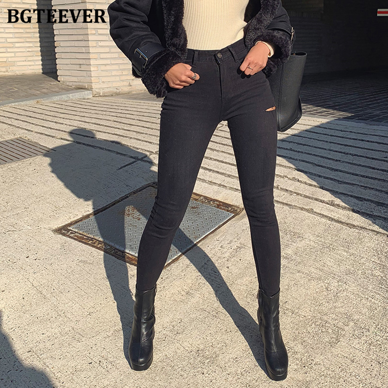 BGTEEVER High Street Skinny High Waist Jeans Woman Vintage Ripped Jeans For Women Stretchable Skinny Pants Femme Vaqueros Mujer