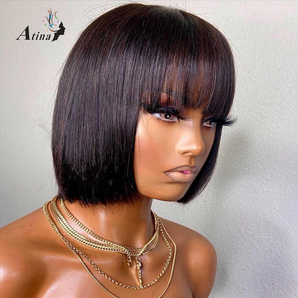 Atina pełna maszyna wykonana peruka brazylijski Remy krótki prosto Bob peruka z Bang dla czarnych kobiet 150 gęstości
