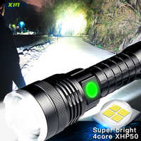50000LM Powerful LED Flashlight XHP50 Zoomable Tactical Torch Rechargeable Waterproof Lamp Ultra Bright Lantern by 26650 battery