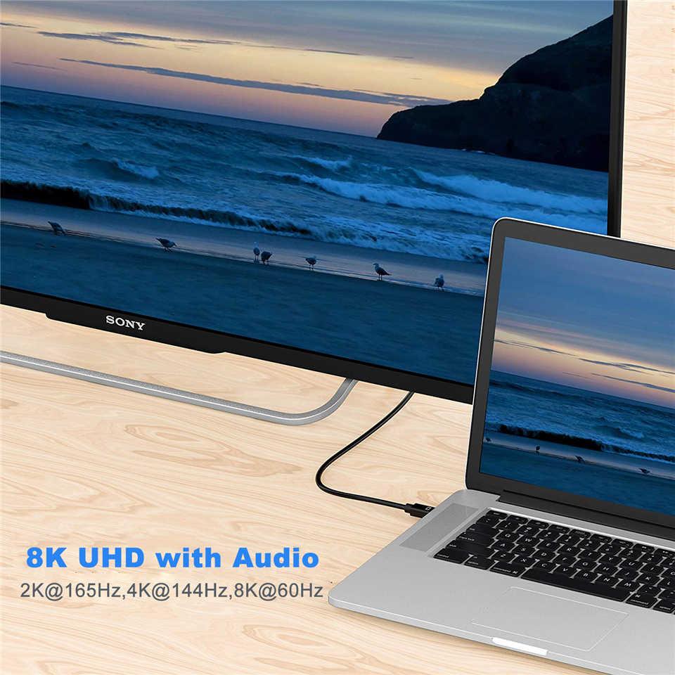 Navceker 4K @ 144Hz Thunderbolt Mini displayport auf Displayport 1,4 Kabel Adapter Mini DP zu DP Konverter Kabel DP Kabel MacBook
