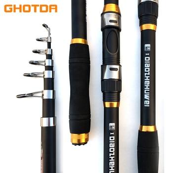 GHOTDA Telescopic Fishing Rod Hard FRP Carbon Fiber 2.1/2.4/2.7/3.0/3.6M Carp Fishing Rod feeder fishing pole Fishing Tackle