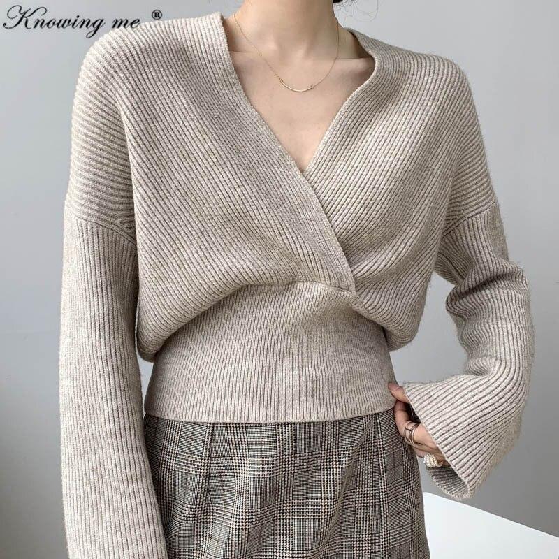 Новинка 2020, сексуальный свитер с глубоким v-образным вырезом, женские пуловеры, Элегантные Осенние Однотонные эластичные вязаные женские топы Invierno с расклешенными рукавами