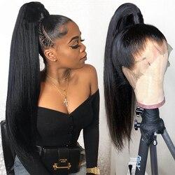 Pelucas de cabello humano liso de zafiro, peruano, prearrancadas, con encaje completo, sin pegamento, pelucas de encaje completo, Peluca de encaje Natural con pelo de bebé