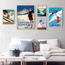 Esquí viajes Les Alpes esquí Propaganda Retro Kraft afiche decorativo DIY pared lienzo adhesivo pósteres decorativos para casa o bar