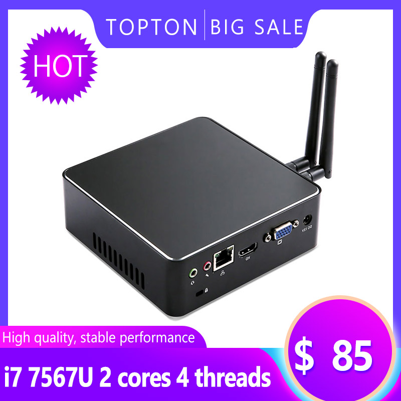 Topton Mini Pocket PC Intel Core I7 7567U/i5 6287U Processor Windows 7/8/10 Linux HDMI VGA 300M WiFi BT NUC Game Computer Case