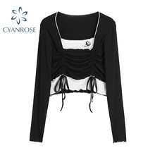 Mode Faux Deux Pièces À Manches Longues T-shirts Femmes 2021 Style Coréen d'été Sexy Bandage Mince Simple Tendance Chic Dames Haut Court