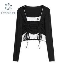 De moda falsa de dos piezas de manga larga Camisetas mujeres Verano de 2021 estilo coreano Sexy Slim Simple de moda Chic damas cultivo superior