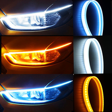 Комплект из 2 предметов, на очень тонком каблуке DRL светодиодный Габаритные огни белый переднего бампера сигнальные желтый направляющая рейка для передних фар сборки светодиодный полосы