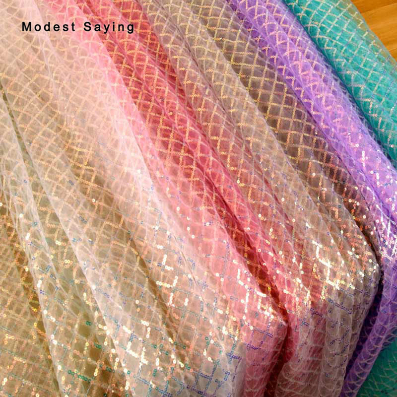 3 Yards Fish Scales Symphony Square Sequins Fabric For Evening Dresses Wedding Party Prom 3mm Laster Glitter Cloth Backdrop Mesh