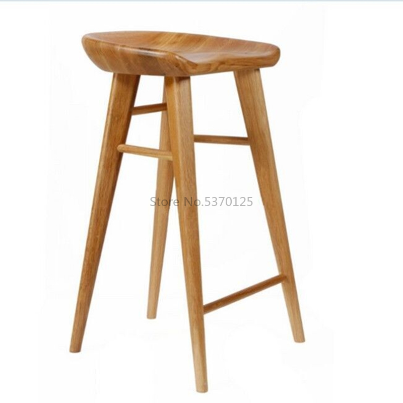 Solid Wood Bar Stool Bar Stool Retro Pure Solid Wood Bar Chair Home Bar Stool High Stool Nordic High Chair