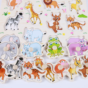 Image 3 - Hot Baby Learning Toys for Children Montessori Hand Grab Board Early Educational Toy Cartoon Vehicle/ Animal Wooden Puzzle Kids