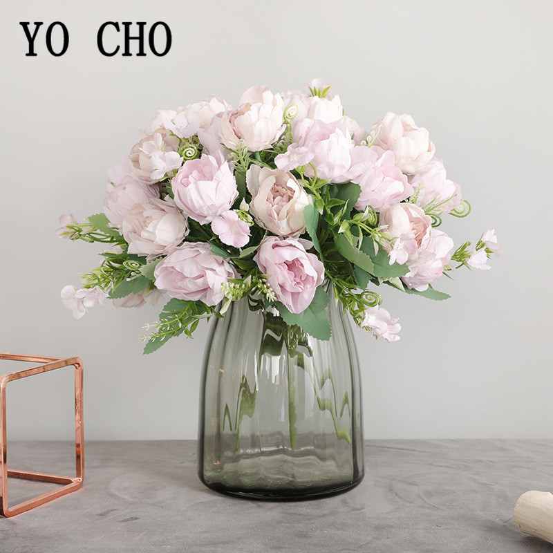 Big Peonies Artificial Silk Flowers Small Bouquet 7 Heads Flores Peony Home Party Spring Wedding Decoration Mariage Fake Flowers