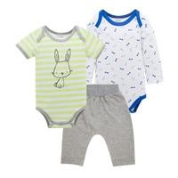Honeyzone Baby Boy Clothing Sets 3Pcs Cartoon Baby Bodysuits Cotton Spring Summer Autumn Soft Gray Pants