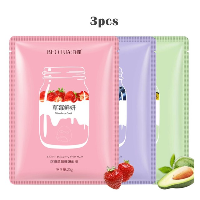 Plant Extracts Fruit 3pcs Skin Care Women Face Sheet Masks Natural Essence Moisturizing Essence Collagen Whitening Mask