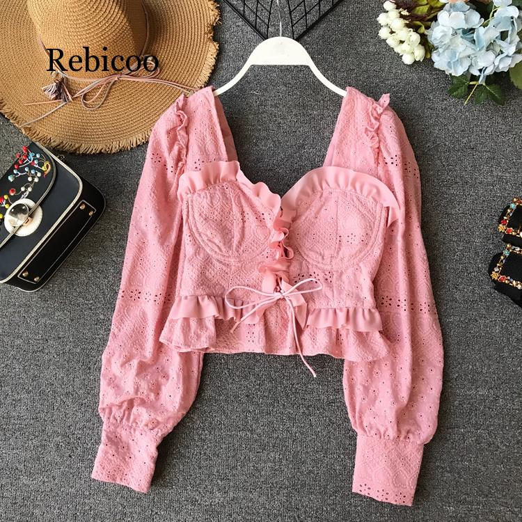 Lace Ruffle Short Crop Top Long Sleeve Hollow Out Black Slim Sexy Backless Korean Spring White Pink Cardigan Shirt Women Blouse