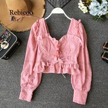 Lace Ruffle Short Crop Top Long Sleeve Hollow Out Black Slim Sexy Backless Korean Spring White Pink Cardigan Shirt Women Blouse chic stand collar white hollow out short sleeve crop top for women
