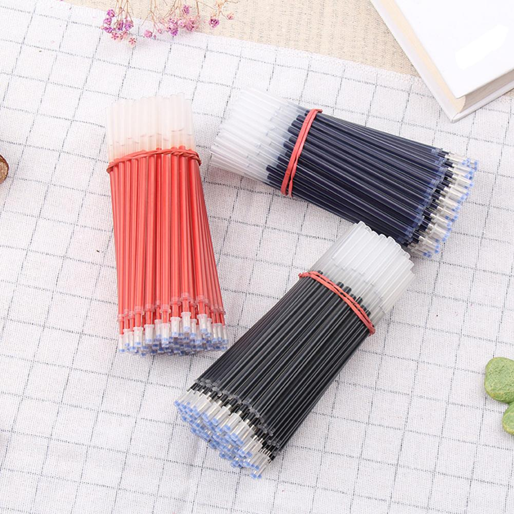 <font><b>100Pcs</b></font> 0.5mm Black Blue Red Gel <font><b>Pen</b></font> <font><b>Refills</b></font> Smooth Writing Office Stationery image