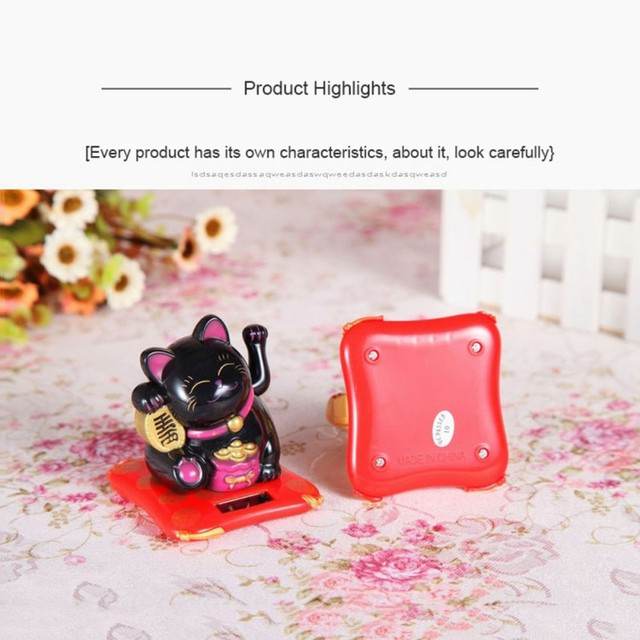 Solar Powered Ceramic Lucky Cat Maneki Neko Shaking Arm Beckoning Fortune Cat Home Car Decoration Gift Wealth Waving Arm Cat 4