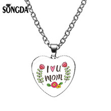 SONGDA Romantic I Love U Mom Statement Necklace High Quality Handmade Glass Heart Pendant Necklace Jewelry For Mother's Day Gift(China)